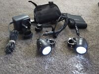 """""""ELECTRON"""" DUAL LED RECHARGEABLE, BICYCLE HANDLEBAR LIGHTS C/W CARRY CASE"""