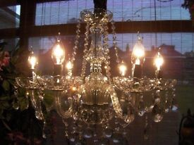 ~ Gorgeous ~ Large elegant 6 Light French style chic glass & crystal chandelier