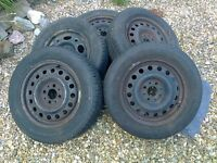 Matching set of 4 wheels (Saab) with 185/65 R15 tyres