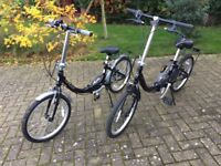 Two Folding Bicycles Halfords Apollo Contour 20 in wheels. Little used. Will separate