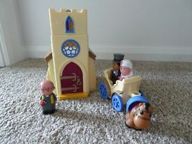 HAPPYLAND CHURCH with Vicar, Bride and Groom with horse and carriage.