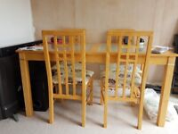 Dining table chairs and matching units and coffee table solid beech woos excellent condition