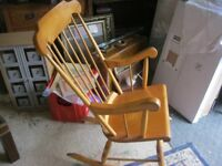 SOLID PINE FARMHOUSE ROCKING CHAIR. IN GOOD ORDER. COMFORTABLE. VIEWING/DELIVERY AVAILABLE