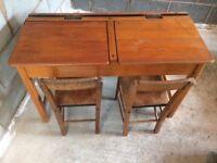 Children's wooden desk & chairs