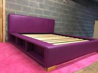 Kingsize plum bed frame with dreams mattress