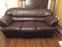 Leather sofa 3 and 2 seater bed brown in colour
