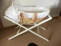 Moses basket and stand. Mamas and Papas.