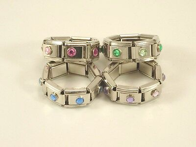 One Dozen New Stainless Steel Stretch Rings with Rhinestones #R1185-12
