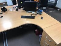 4 office desks and Pedestals