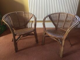 2 x children's cane chairs