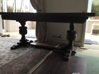 Solid oak refectory table and chairs - 6ft x 3ft (extends to 9ft)