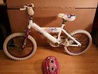 Huffy Girls cycle / Bike for sale with helmet in Pink & White
