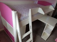 Stompa cabin bed with desk, storage cube & removable shelf
