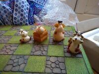 Ceramic sheep/cow chess set
