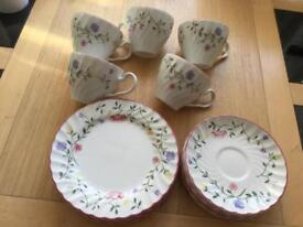 "Johnson Brothers ""summer chintz"" cups,saucers,plates"
