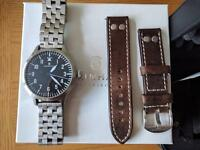 Steinhart Nav B-Uhr 47 Automatic A type Watch with metal and brown strap.