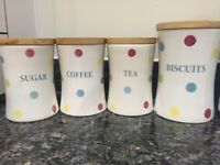 Spotty Tea, Coffee, Sugar and Biscuit Jars