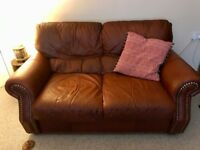 Brown Leather 2 seater settee
