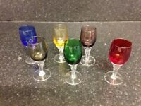 Retro 6 x multi coloured after dinner liqueur glasses