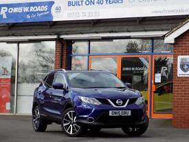 NISSAN QASHQAI 1.6 DCi TEKNA 5dr * Pan Roof Leather & Nav * * Cruise Control + Bluetooth * 2015