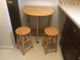 FOLDING SMALL KITCHEN TABLE WITH TWO STALLS