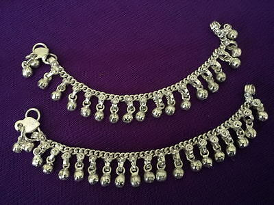 Child silver chain bells 2 anklet set ankle bracelet Indian foot gift jewelry 7""