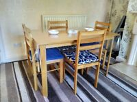 Dining table & 4 chairs. One year only. Included chair cushions & transparent table cover.