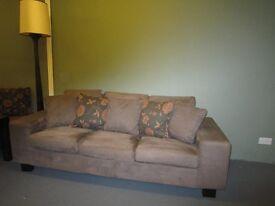 3 Seat Sofa Light Chocolate Brown Microfibre Suede Effect Look.