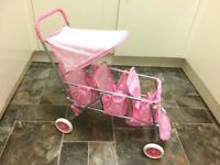 Badger Basket Triple Doll Stroller - Pink Polka Dots