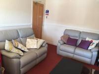 2 grey leather sofas