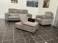 Sofology Grey 3 Seater Electric Recliner+Arm Chair+Footstool Chair Settee