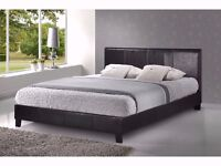SPECIAL OFFER WITH FULL FOAM MATTRESS-Kingsize Leather Bed w/ 10inch Deep Quilt Mattress-RRP£269