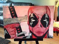 Deadpool acrylic painting - canvas - marvel - comic - art