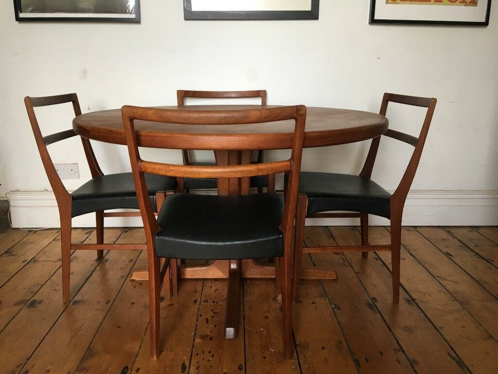 Vintage Mid Century Teak Dining Table 4 Lovely Chairs Danish Dyrlund