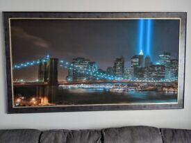 New York Twin Towers Colour Skyline Framed Canvas