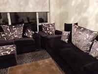 SCS sofa Full set with chrome swivel chair & printed stool