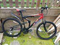 """Adult dual suspension mountain bike 18x speed 26"""" wheels. Lights and guards"""