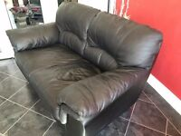 Black Faux Leather Two Seat Sofa