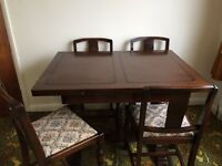 1950's Extending Dining Table and 4 Chairs