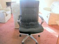 Heavy duty leather and steel swivel chair in Brynmill