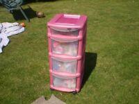 4 draw plastic storage drawers
