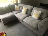 Corner sofa (grey) with pouffe