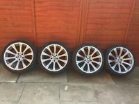 "Genuine Bmw e60 19"" M5 alloy wheels & tyres 5 series - 166 alloys Spider spyder mv2 staggered e61"
