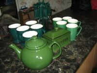 Green tea pot ,mugs ,butter dish and cutlery set