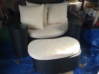 Rattan Conservatory/Garden Furniture. 2 Seater Sofa/Couch And Footstool