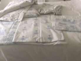 Duck egg blue and white matching duvet covers,pillow cases, throw and curtains