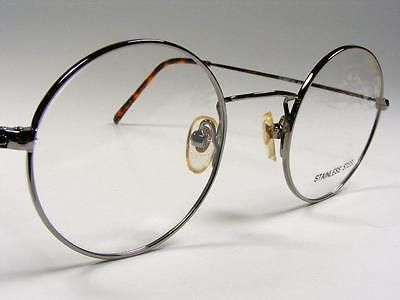 1980s Round Gunmetal Eyeglass Frames John Lennon Spectacles NOS 44-18 Hippie (John Lennon Spectacle Frames)