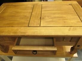 RUSTIC/MEXICO SOLID PINE COFFEE TABLE WITH DRAWER