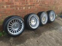 """Set of 4 18"""" BMW 3sdm alloy wheels with tyres 2 months old"""