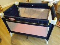Little Tikes Navy Blue Travel Cot (with extra foam mattress)